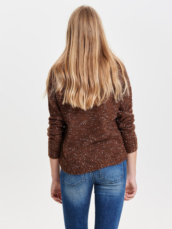 LÄSSIGER STRICKPULLOVER, Potting Soil, large