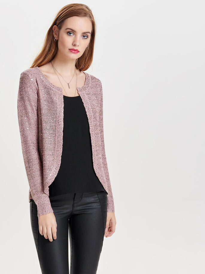LOOSE KNITTED CARDIGAN, Woodrose, large