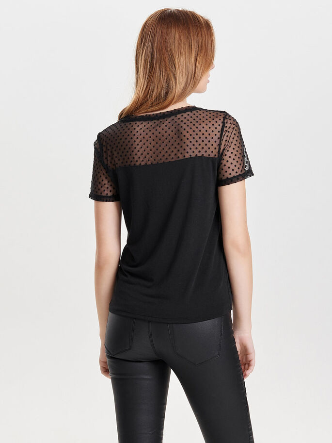 MIX TOP MET KORTE MOUWEN, Black, large