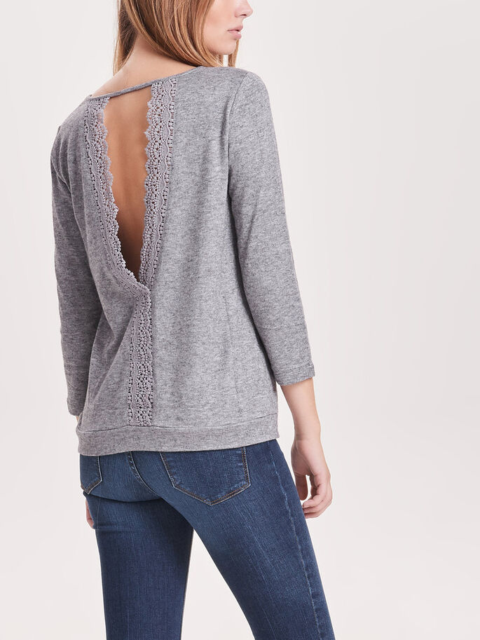 KANTEN TOP MET 3/4 MOUWEN, Light Grey Melange, large