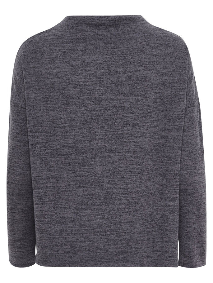 SOLID LONG SLEEVED TOP, Dark Grey Melange, large