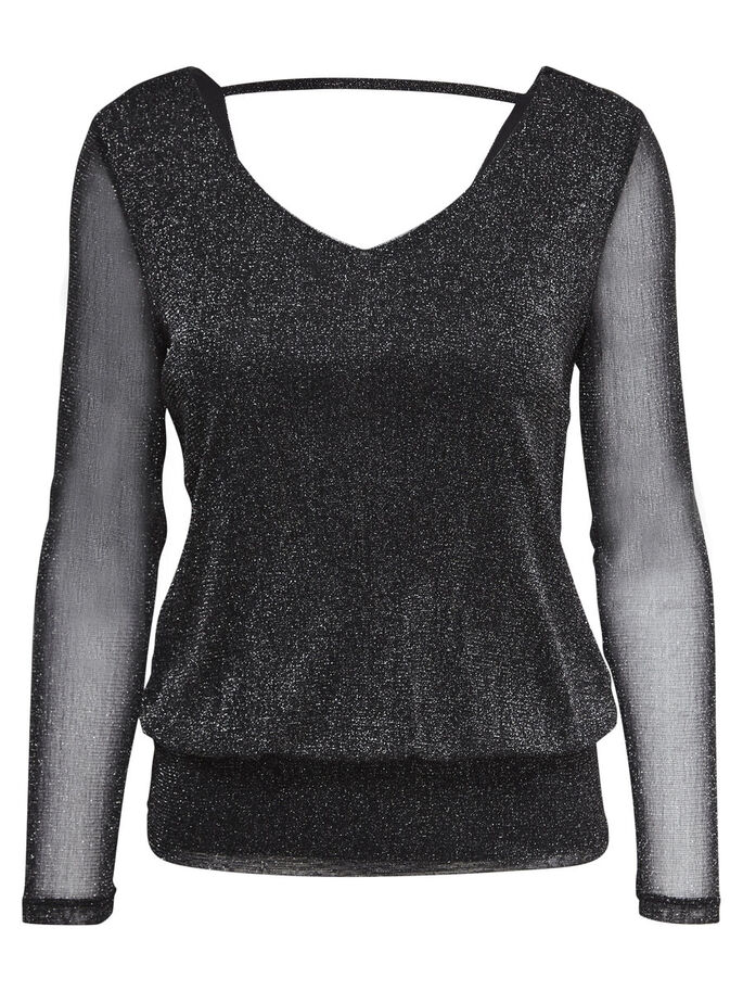 LUREX TOP MET LANGE MOUWEN, Black, large