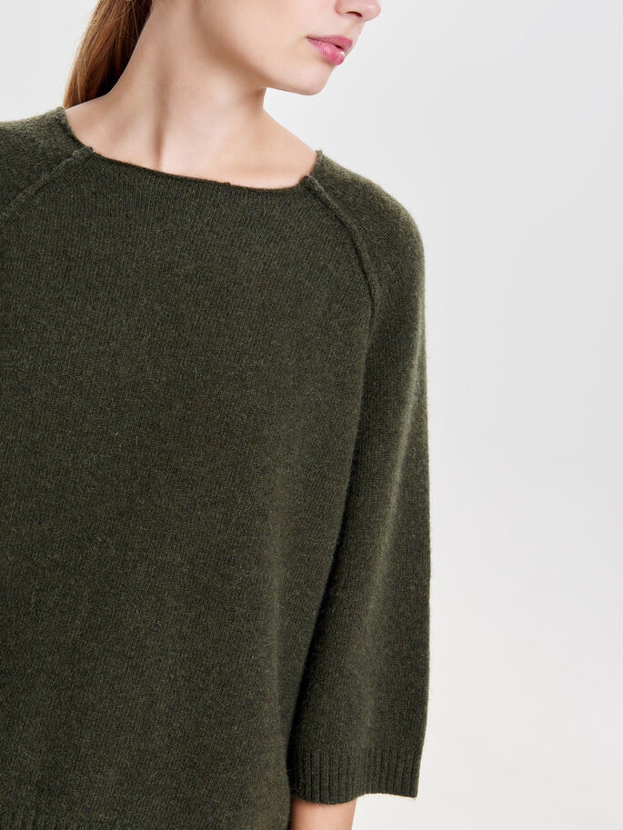 CROPPED 3/4 SLEEVED BLOUSE, Rifle Green, large