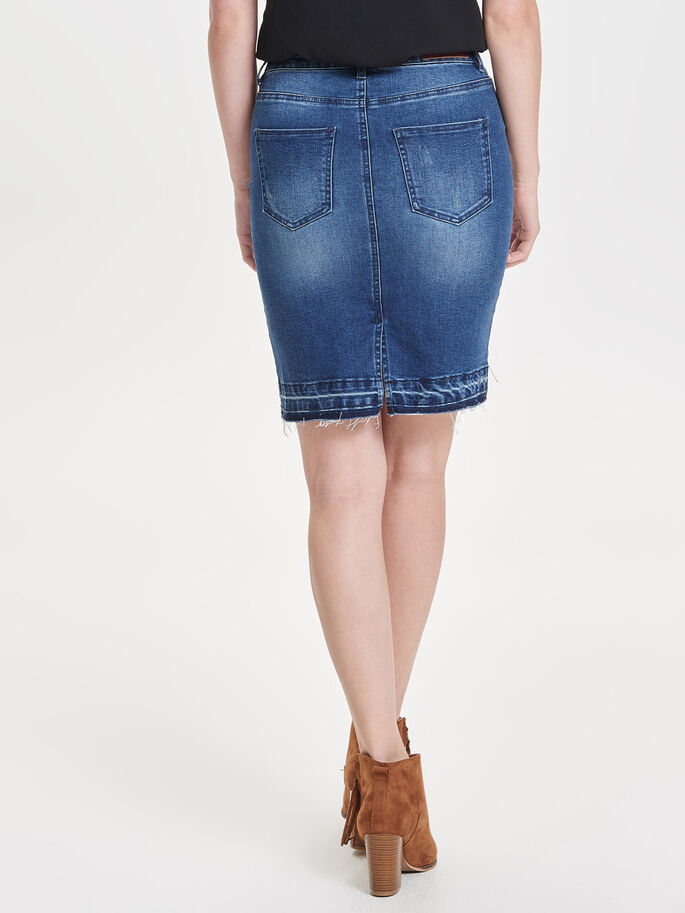 PENCIL DENIM SKIRT, Dark Blue Denim, large