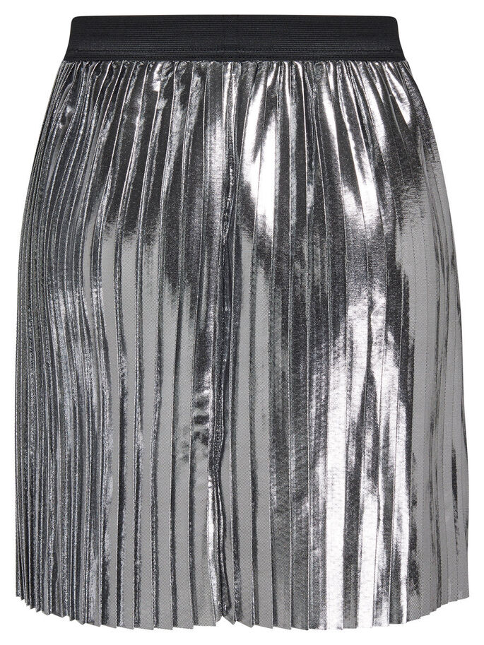 PLEATED METALLIC SKIRT, Silver, large