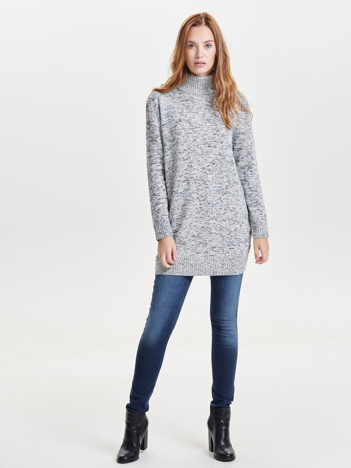 LONG HIGH NECK KNITTED PULLOVER, Cloud Dancer, large