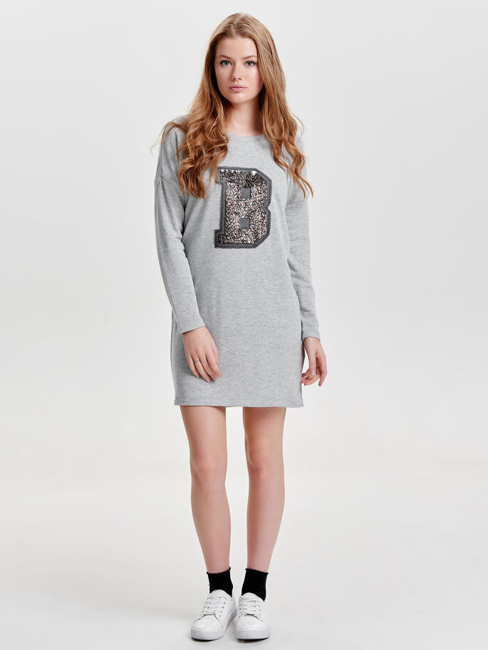 SWEAT LONG SLEEVED DRESS, Medium Grey Melange, large