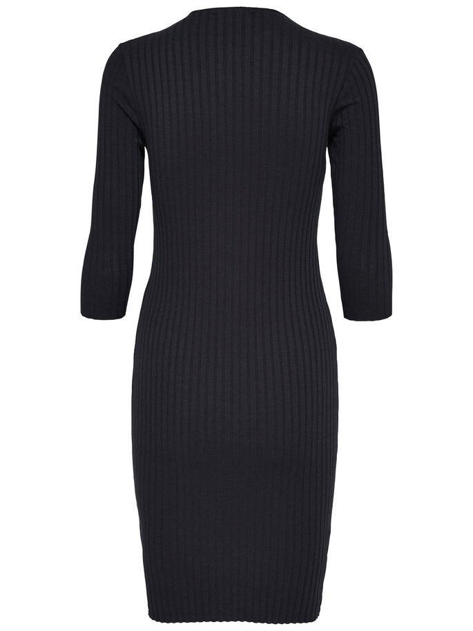 HIGH NECK DRESS, Black, large