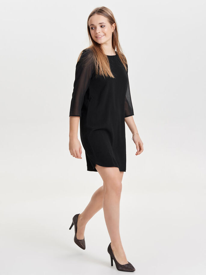 MIX SHORT DRESS, Black, large