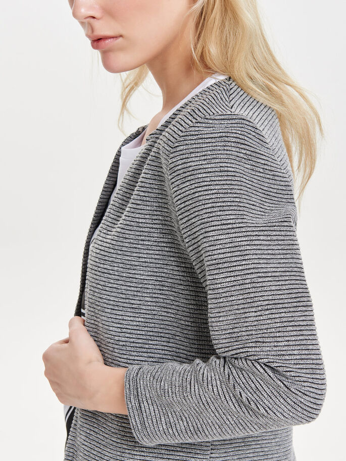 7/8 SLEEVED KNITTED CARDIGAN, Light Grey Melange, large