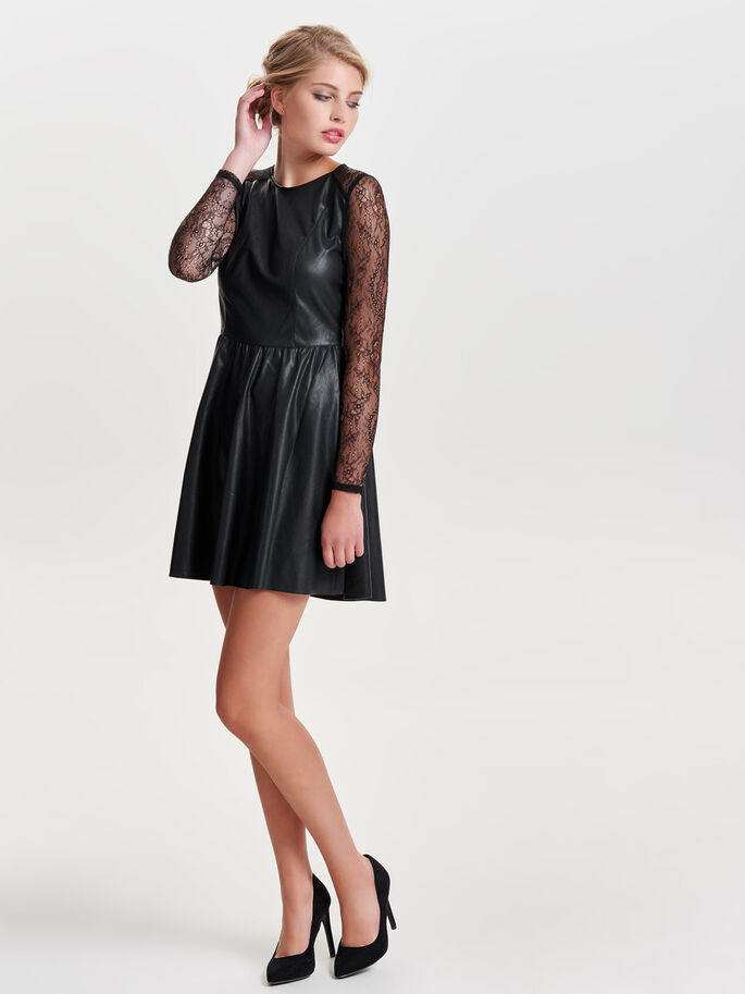 LEATHER LOOK SHORT DRESS, Black, large