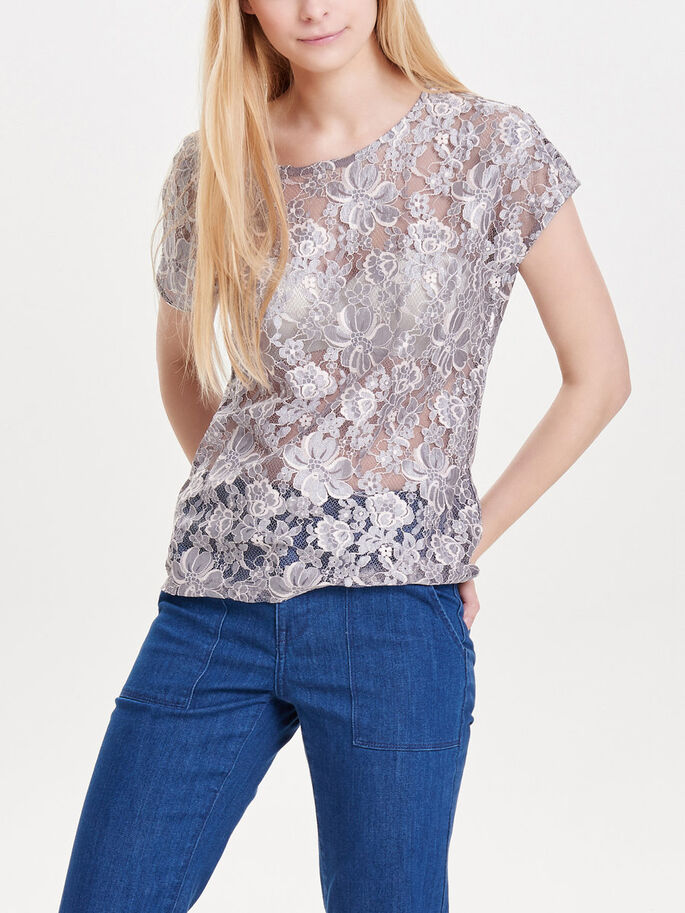 LACE SHORT SLEEVED TOP, Gull Gray, large