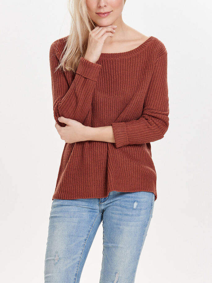 SOLID KNITTED PULLOVER, Henna, large