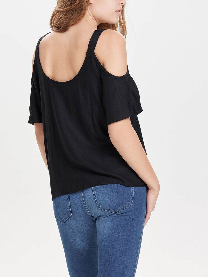 COLD SHOULDER KORTÄRMAD TOPP, Black, large