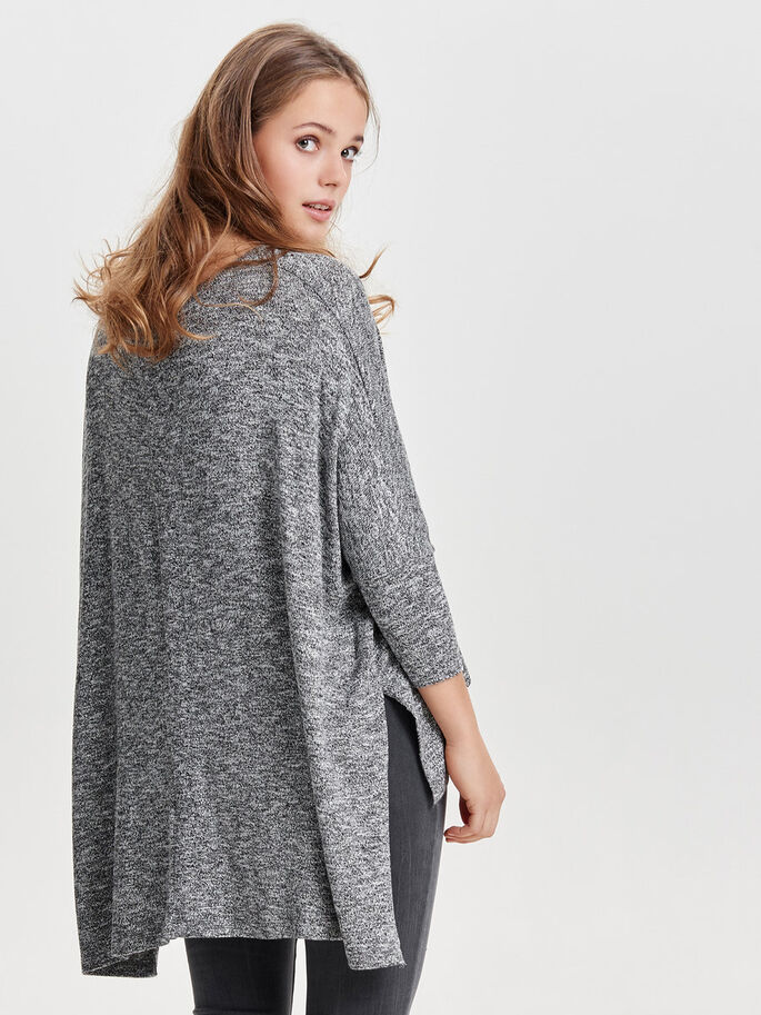 OVERSIZE STRIKKET TOP, Light Grey Melange, large