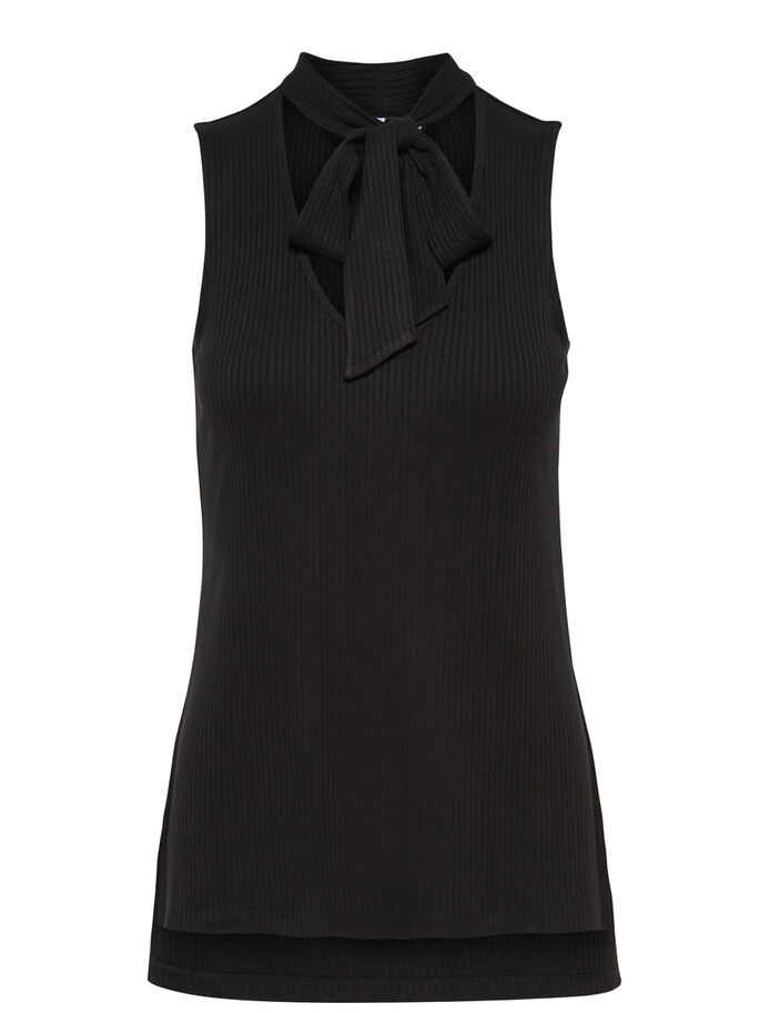 BOW SLEEVELESS TOP, Black, large