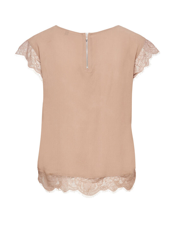 LACE SHORT SLEEVED TOP, Warm Taupe, large