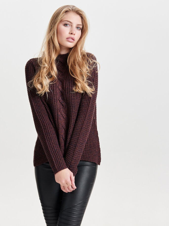 HIGH NECK KNITTED PULLOVER, Fudge, large