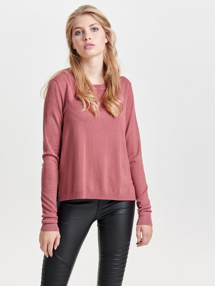 SOLID KNITTED PULLOVER, Withered Rose, large