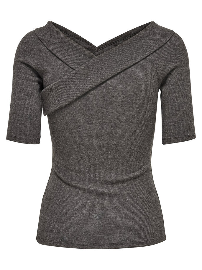 WIKKEL TOP MET KORTE MOUWEN, Dark Grey Melange, large