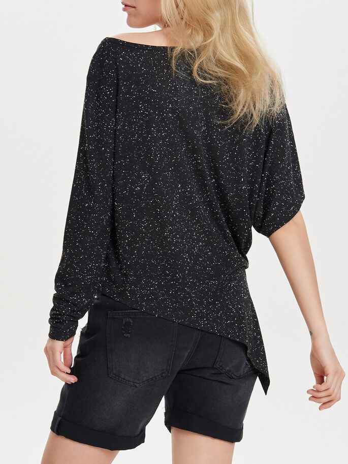 ASYMMETICAL 3/4 SLEEVED TOP, Black, large