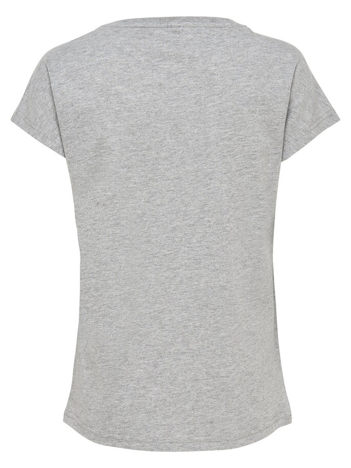 PRINTET TOP MED KORTE ÆRMER, Light Grey Melange, large