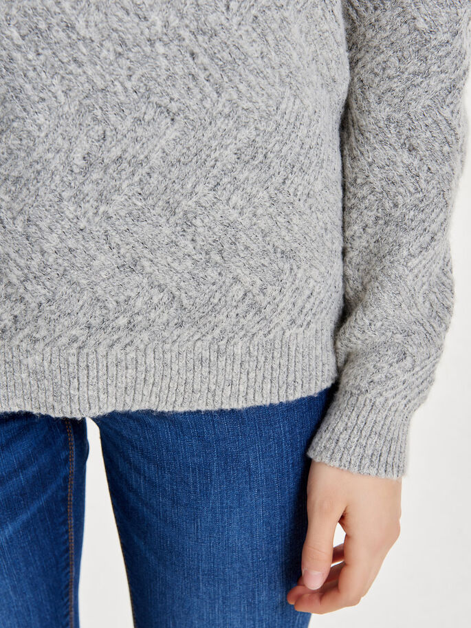 SOLID KNITTED PULLOVER, Light Grey Melange, large