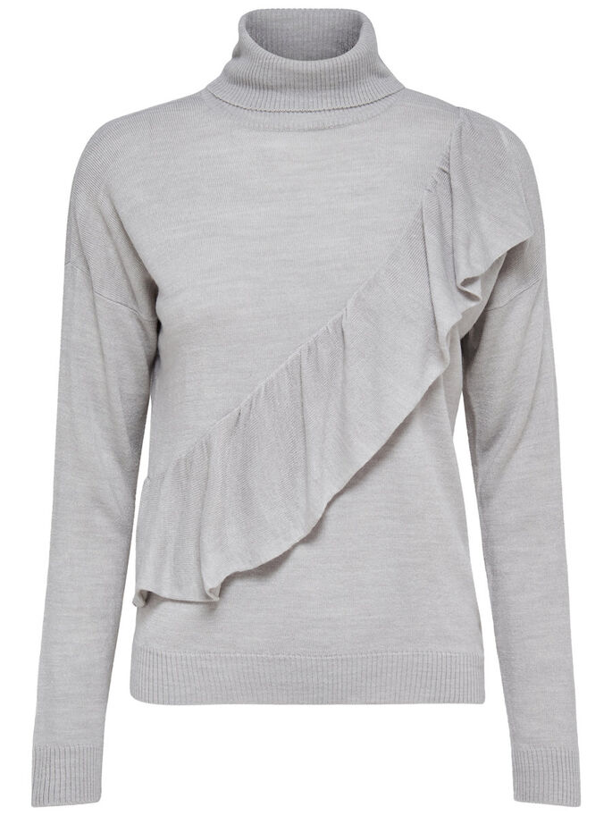 FRILL KNITTED PULLOVER, Light Grey Melange, large