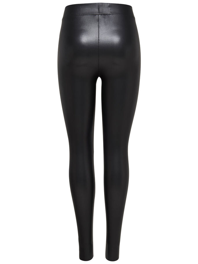 HIGH WAIST COATED ANKLE LEGGINGS, Black, large