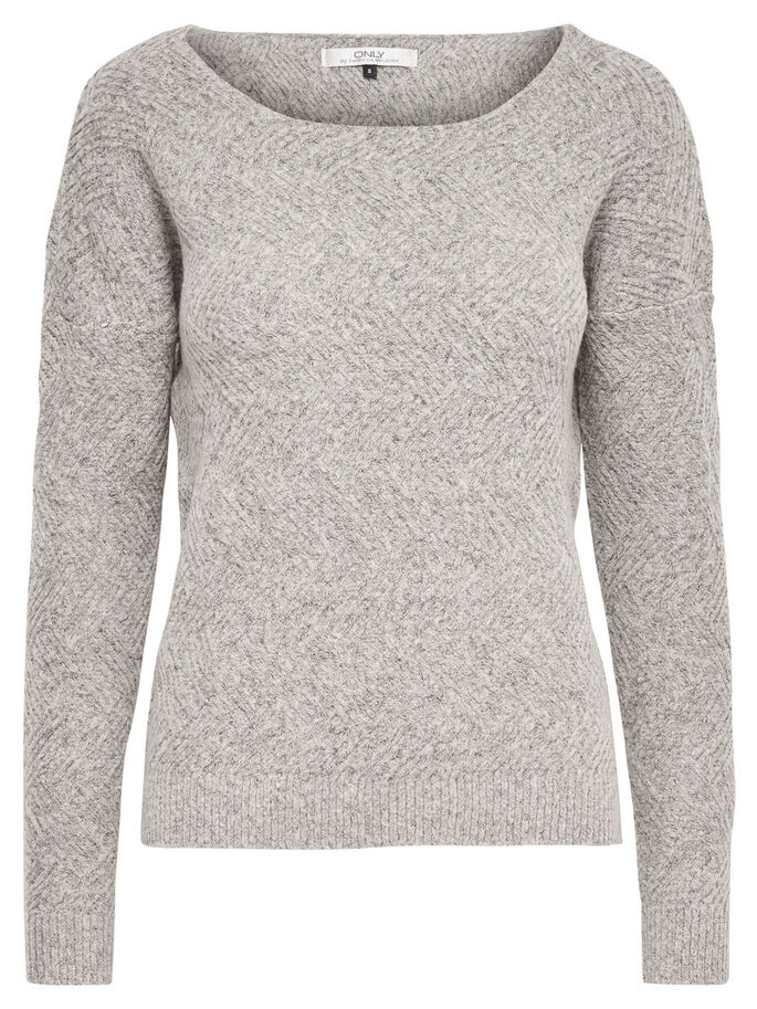 EINFARBIGER STRICKPULLOVER, Light Grey Melange, large