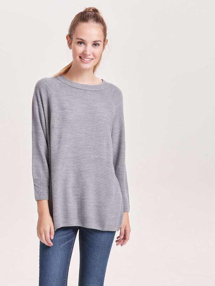 RUIMVALLENDE GEBREIDE TOP, Light Grey Melange, large