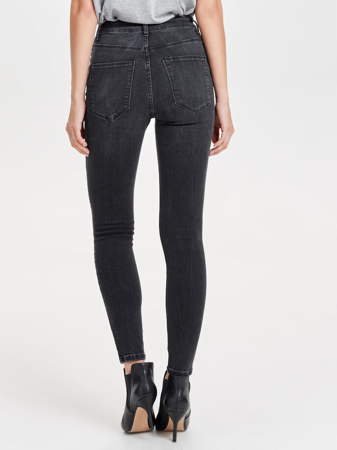 STUDIO1 HIGH WAISTED ANKLE SKINNY JEANS, Black Denim, large