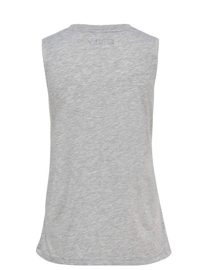 PRINTED SLEEVELESS TOP, Light Grey Melange, large