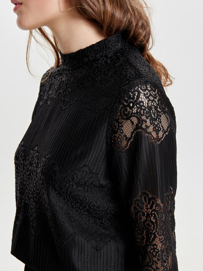 LACE TOP MED LANGE ÆRMER, Black, large