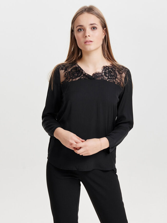 SPITZEN- BLUSE, Black, large