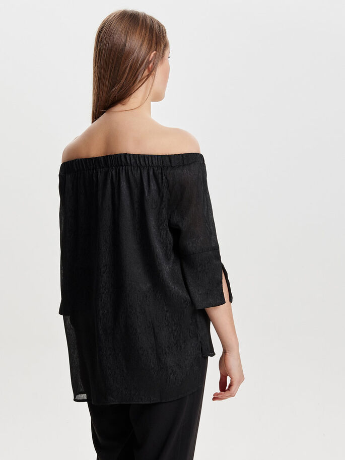OFF SHOULDER TOPP MED 3/4-ÄRMAR, Black, large
