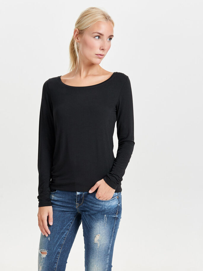 STRIKKET LANGERMET TOPP, Black, large