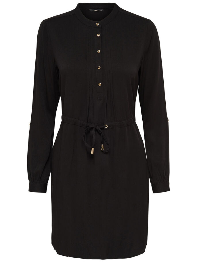 DETAILED LONG SLEEVED DRESS, Black, large