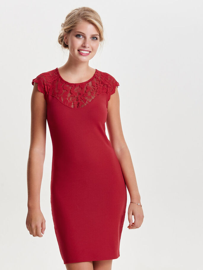LACE SLEEVELESS DRESS, Jester Red, large