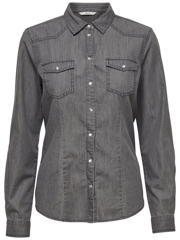 DENIM OVERHEMD MET LANGE MOUWEN, Grey Denim, large