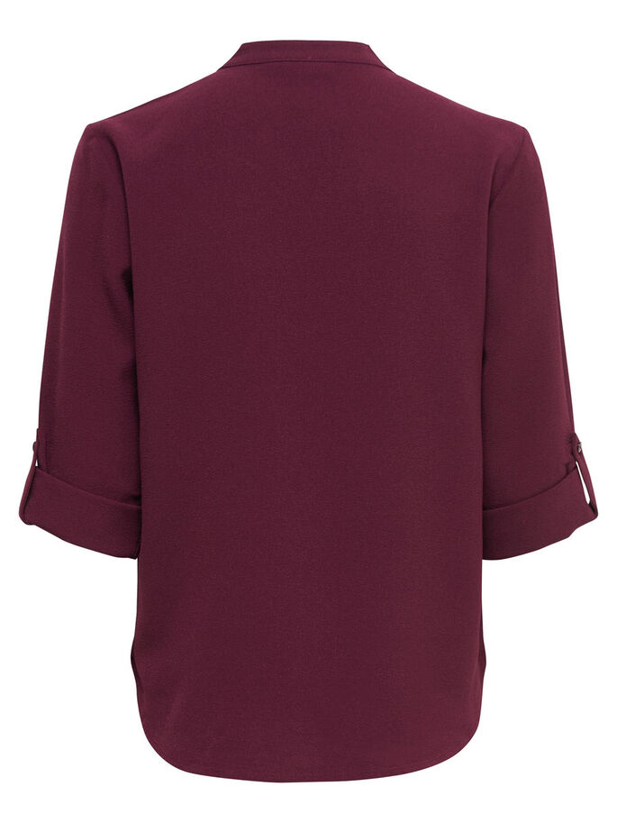 SOLID 3/4 SLEEVED TOP, Windsor Wine, large