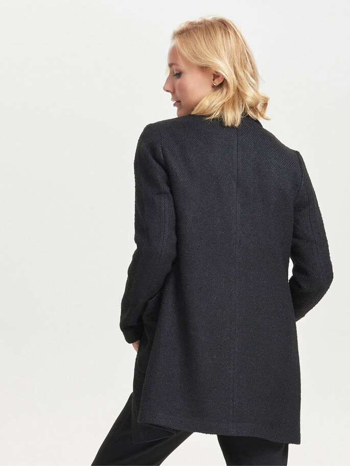 WOOL COAT, Black, large