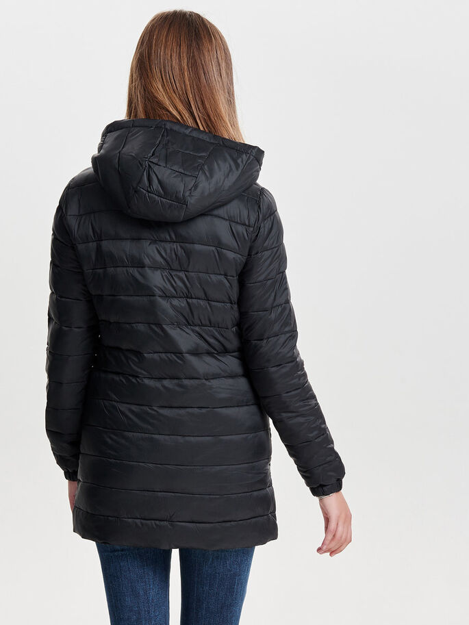 QUILTED NYLON COAT, Black, large