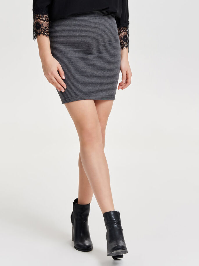 DETAILED SKIRT, Dark Grey Melange, large