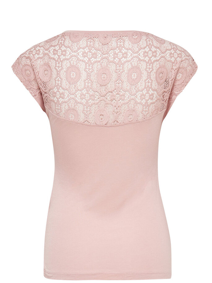 KANTEN TOP MET KORTE MOUWEN, Misty Rose, large