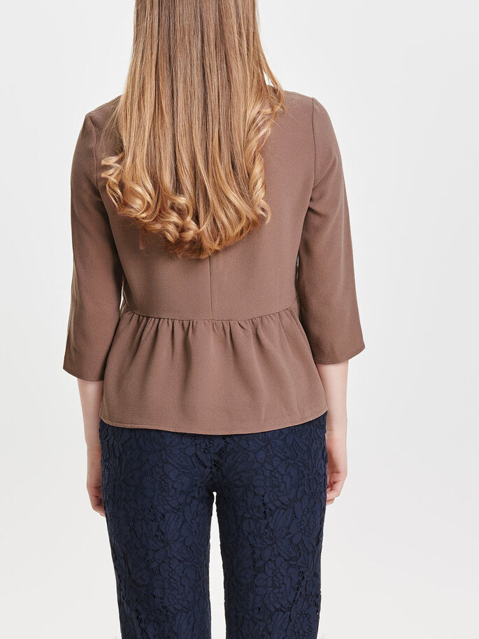 SOLID 3/4 SLEEVED TOP, Cognac, large