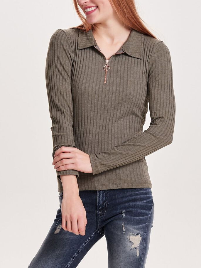 ZIP LONG SLEEVED TOP, Tarmac, large