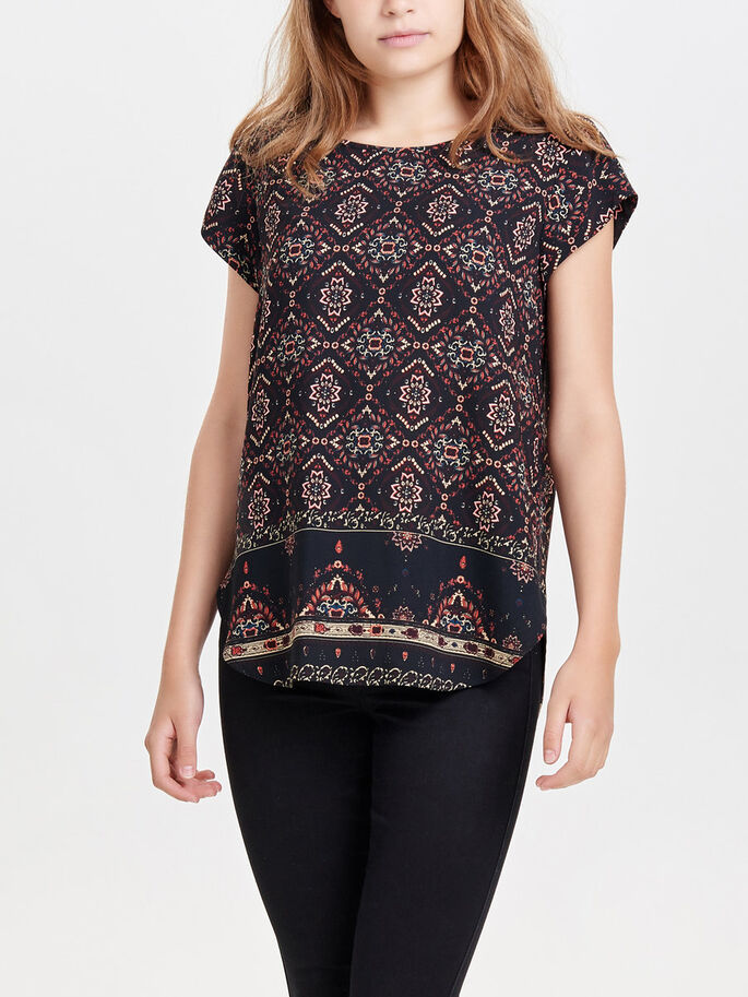 PRINTED SHORT SLEEVED TOP, Black, large