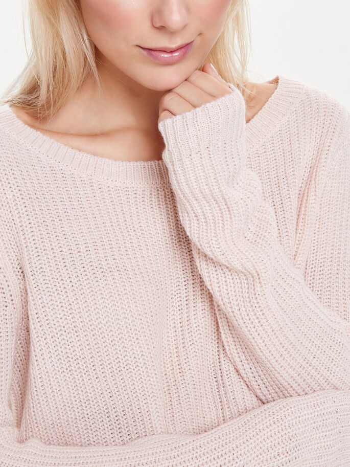 EINFARBIGER STRICKPULLOVER, Peach Whip, large