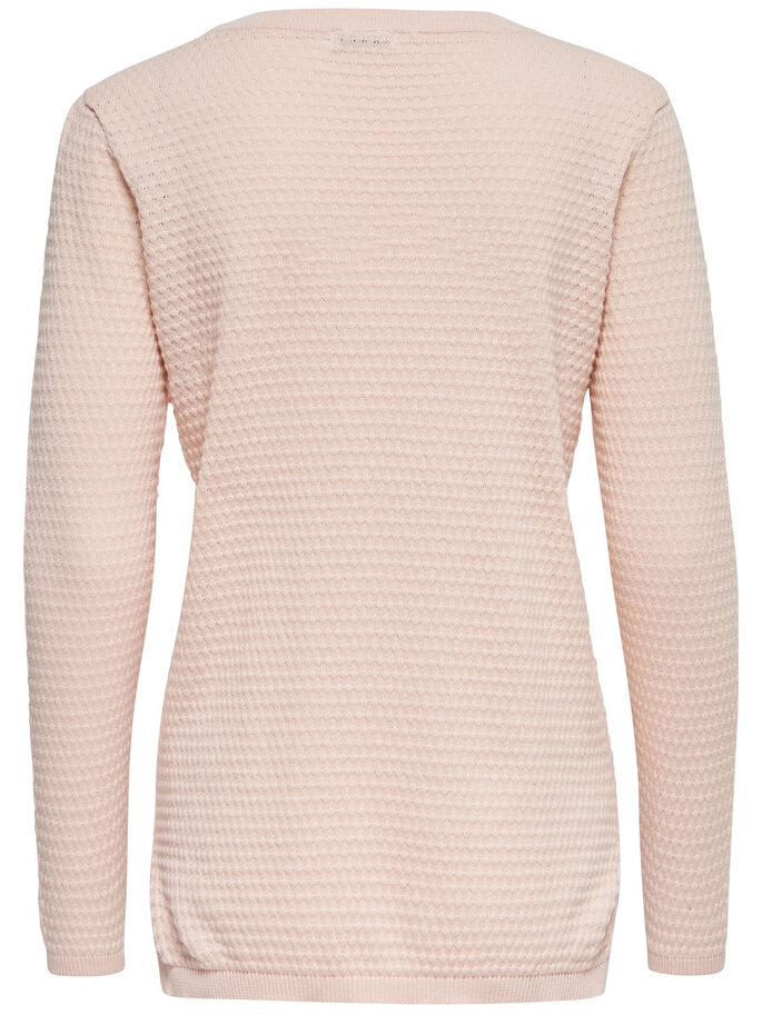 SOLID KNITTED PULLOVER, Peach Whip, large